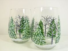 Stemless Wine Glasses Hand Painted Winter by PaintingByElaine, $24.00