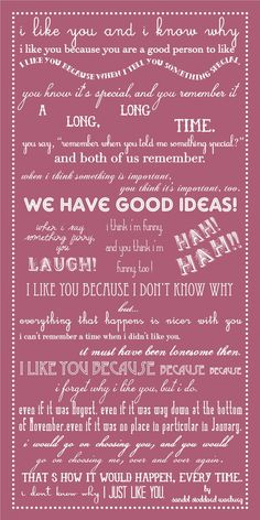 "Excerpt from the children's book, ""I Like You"" that our bridal party read aloud at our wedding ceremony - love this"