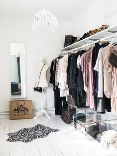 No closet? No problem! If you are short on closet space and wardrobe storage, then an open closet concept may be the solution for you. Open closets are exciting because you can use creativity and inno Wardrobe Room, Wardrobe Storage, Closet Bedroom, Bedroom Storage, Open Wardrobe, Capsule Wardrobe, Clothes Storage, Ikea Closet, Ideas De Closets
