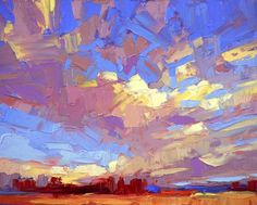 """Declaration"" by David Mensing Swirling sky over southern Idaho, oil on board"