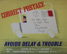 G Parkinson (dates not known) Correct Postage Avoids Delay & Trouble, original GPO poster PRD 796 1955 General Post Office, Vintage Posters, Ephemera, British, Letters, War, Prints, Royal Mail, Badges