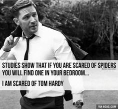 Studies Show That If You Are Scared Of Spiders You Will Find One In Your Bedroom I Am Scared Of Tom Hardy - Funny Memes. The Funniest Memes worldwide for Birthdays, School, Cats, and Dank Memes - Meme Handsome Men Quotes, Handsome Arab Men, Men Quotes Funny, Funny Memes, Hilarious, Sexy Men Quotes, Funny Sayings, Tom Hardy Quotes, Scared Of Spiders