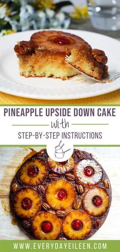 Cast Iron Pineapple Upside Down Cake, a from scratch homemade moist and delicious yellow cake. Topped with a yummy caramelized pineapple, pecans, and maraschino cherry topping. A retro dessert everyone loves. #castironpineappleupsidedowncake #pineappleupsidedowncake #castironbaking #everydayeileen Delicious Cake Recipes, Easy Cake Recipes, Best Dessert Recipes, Cupcake Recipes, Yummy Cakes, Baking Recipes, Cupcake Cakes, Kitchen Recipes, Breakfast Recipes