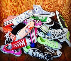 Chucks - Converse  Looks like my closet, lol.  What color should I get next?