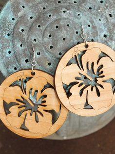 Hibiscus Earrings - Laser Cut Wooden Hoops -