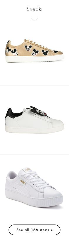 """""""Sneaki"""" by xseamacx ❤ liked on Polyvore featuring shoes, sneakers, mickey mouse shoes, leather trainers, real leather shoes, leather sneakers, leather shoes, white, womenshoessneakers and round cap"""