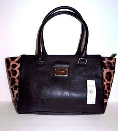 Nine West Womens Blk/Brn Leopard Shopper Shoulder Bag Tote Free Shipping SALE #NineWest #TotesShoppers