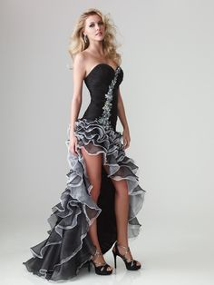 Hi-low Pleats Organza Prom Dress