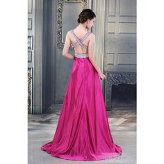 Graceful V-Neck A-Line Floor Length Beadings Sash Evening Dress :... ($119) via Polyvore