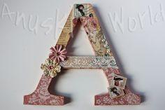 "Letra A de madera decorada ""A Ladies Diary"""