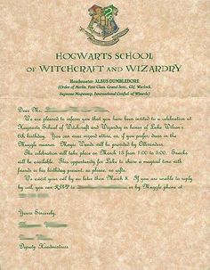Harry Potter Hogwarts Invitation