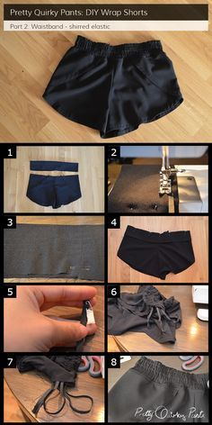 Instruction Layout for a shirred waistbandThe best tutorials for DIY stylish shorts - DIY Wrap Shorts with Shirred Waistband I have been seeing this cut of short everywhere this summer. I will definitely be making a pair of wrap shorts in th Sewing Shorts, Diy Shorts, Sewing Clothes, Fashion Sewing, Diy Fashion, Fashion Outfits, Diy Kleidung, How To Make Clothes, Clothing Hacks