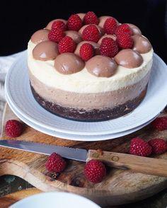 Triple chocolate cake with chocolate pannacotta and raspberries