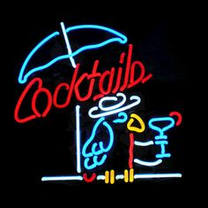 Cocktail Parrot Neon Sign