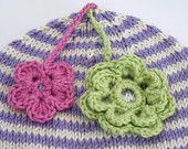 Items similar to Beanie for Cream with Blue edge and Pink & Green Flowers on Etsy Pink And Green, Blue, Green Flowers, Lilac, Crochet Earrings, Beanie, Cream, Trending Outfits, Unique Jewelry
