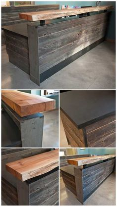 Modern rustic wood slab as bar top and reclaimed, with sides covered with rough hewn wood planks.