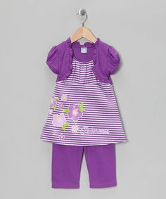 Take a look at this Purple Stripe Tunic & Capri Leggings - Infant, Toddler & Girls by G Relations on #zulily today!