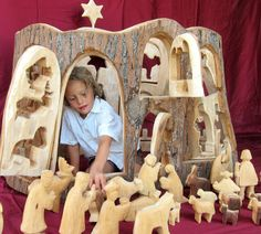 Carved Nativity for Church or Kindergarten by Baumstammbuch
