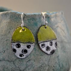 Olive and White Torch Fired Enamel Earrings by lonesomedovedesigns