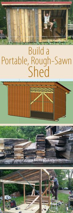 This 8'x16' shed was made from local, rough-sawn lumber for around $1,800 and 140 person-hours. It is within road legal dimensions so if can be transported on the highway.