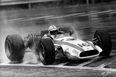 French GP, 1968: John Surtees drives his Honda to a second-place finish behind Jacky Ickx in a Ferrari. Surtees refused to drive a new Honda RA302 chassis, which he deemed unsafe. Jo Schlesser, chosen to drive the new Honda, died on the second lap of the race, when he lost control and overturned. The car burned fiercely due to its magnesium content.