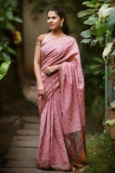 39f197846cde15 Pink threadwork on silk kota saree with zari border and pink gold lace  edging + floral lace pallu. HouseofBlouse.com