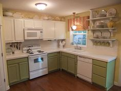 painting kitchen cabinets before and after | Before & After: A Kitchen Transformed By Paint, Twice Mom and Her ...