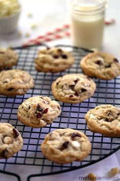 Thick and chewy and exploding with the flavors of fall, these White Chocolate Cranberry Macadamia Nut Cookies are an instant favorite. These cookies are studded with three cups worth of mix-ins meaning it's impossible to take a bite without a chocolate, fruit or a nut piece in it!