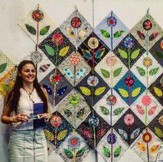 Folk Embroidery Folk Flower Block with Anna Maria Horner Patchwork Patterns, Quilt Patterns, Quilting Ideas, Patchwork Ideas, Patchwork Designs, Sewing Patterns, Anna Maria Horner, Quilt Modernen, Flower Quilts