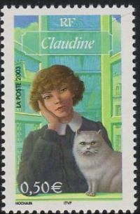 Collette's Claudine with her cat | postal stamp, France 2003