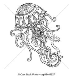 Vector - jellyfish coloring page - stock illustration, royalty free illustrations, stock clip art icon, stock clipart icons, logo, line art, EPS picture, pictures, graphic, graphics, drawing, drawings, vector image, artwork, EPS vector art