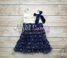 Ivory and Navy dress, newborn dress, Lace dress, baby girl outfit, infant outfit, flower girl dress, toddler dress, girls dress by MyLilSweetieBoutique on Etsy https://www.etsy.com/listing/153198764/ivory-and-navy-dress-newborn-dress-lace