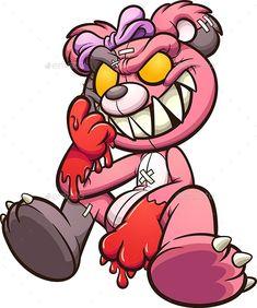 Evil Teddy Bear, Blue Teddy Bear, Cool Cartoons, Graffiti Cartoons, Cartoon Smile, Cartoon Panda, Cute Cartoon, Doodle Tattoo, Doodle Art