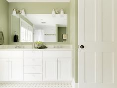 double sink and cabinets