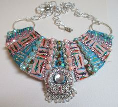 Bib Collar Statement Necklace Aqua Pale Pink by audreymivey, $48.00