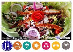 hoy para abrir apetito ensalada de pollo ¿ te apetece comer hoy al lado del mar? reservas 868081242