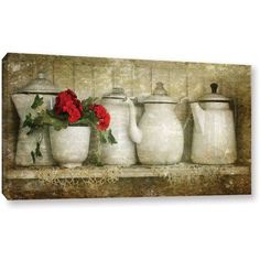 Antonio Raggio 'Flower with Pots' Gallery-Wrapped Canvas, Size: 16 x 32, Green