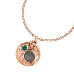 18ct Rose Gold Vermeil Hammered Disc, Labradorite & Green Onyx Pendant