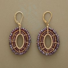 """OVAL OVATIONS EARRINGS�--�Bountiful garnet and quartz rondelles are wired with 14kt rose goldfill. 14kt rose goldplate beads into eye-catching ovals. Bold and beautiful from Dana Kellin, handcrafted in USA. Lever backs. 2""""L."""