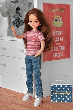Licca doll clothes - T shirt and jeans pants