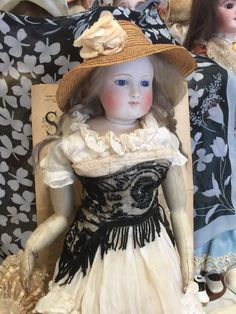 Antique Gaultier FG French Fashion Doll swivel head, leather body blue eyes 45