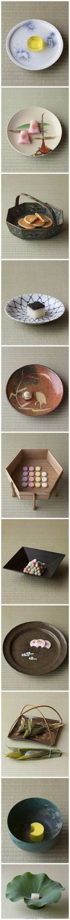 Picking plates to serve Japanese sweet is a kind of art! Japanese Treats, Japanese Candy, Japanese Food, Japanese Wagashi, Japanese Sweet, Japanese Tea Ceremony, Asian Desserts, Cute Food, Confectionery