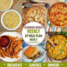 Diet Meal Plans Slimming Eats SP Weekly Meal Plan - Week 2 - Slimming World Recipes - taking the work out of planning so you can just cook and enjoy the food. Sp Meals Slimming World, Slimming World Breakfast, Slimming World Recipes Syn Free, Slimming Eats, Wedding On A Budget, Sliming World, Diet Recipes, Healthy Recipes, Savoury Recipes