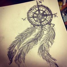 compass dreamcatcher tattoos | My compass dream catcher drawing. | Tattoos