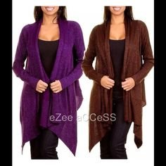 Long sleeves sweater cardigan drape hem SeXY WoMeNS aSYMMeTRiC drape front MeTaLLiC SHiMMeR LoNG SLeeVe TuNiC SWeaTeR CaRDiGaN CoaT cover.  Gorgeous knit sweater cardigan. Have trendy open front,drape collar. long sleeves. Asymmetric HEM.  please ask for color and size availability. Boutique Sweaters