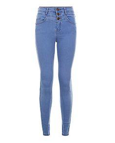 Jean skinny ado bleu taille haute | New Look