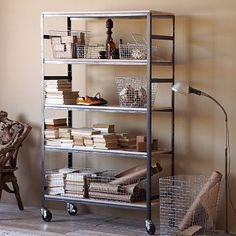 Industrial look shelving. From West Elm.