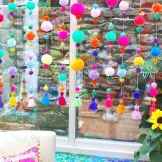 Pom Pom curtain with tassels