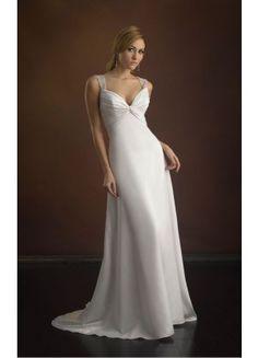 Unique Court Train Column Sleeveless Satin Straps Formal Wedding Dresses - Wedding Dresses