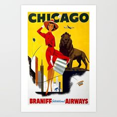 This vintage Chicago travel poster was issued circa Chicago - Braniff International Airways. A woman holds her hat and skirt while fighting the windy city of Chicago. Chicago Poster, Chicago Art, Chicago Travel, Chicago Illinois, Chicago Gifts, Chicago Shopping, Retro Airline, Airline Travel, Vintage Airline